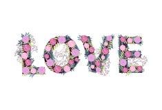 Влюбленность слова от цветков Стоковое Фото