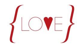 Влюбленность слова с красным сердцем Стоковое Изображение RF