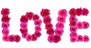 Влюбленность слова с розами Стоковое Изображение