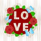 Влюбленность - текст с красочными цветками Стоковая Фотография