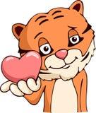 Влюбленность тигра шаржа Стоковые Изображения