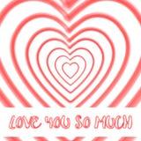 Влюбленность формы сердца акварели вы так много отправляете СМС предпосылка Стоковые Изображения