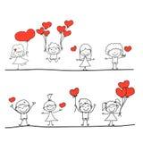 Влюбленность шаржа нарисованная вручную Стоковые Изображения RF