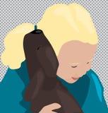 Влюбленность щенка: ребенок и щенок иллюстрация штока