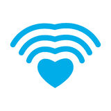Влюбленность Wi-Fi Сердце WiFi Беспроволочное сообщение для любовников римско иллюстрация вектора