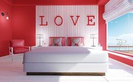 Влюбленност-современный интерьер спальни на день ` s валентинки Стоковые Фото