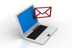 Габарит электронной почты в компьтер-книжке иллюстрация штока