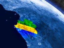 Габон с врезанным флагом от космоса Стоковые Изображения