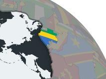 Габон с флагом на глобусе иллюстрация вектора