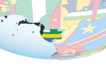 Габон с флагом на глобусе бесплатная иллюстрация