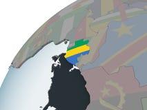 Габон с флагом на глобусе иллюстрация штока