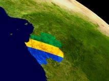 Габон с флагом на земле Стоковая Фотография