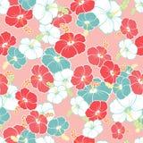 Гаваиская безшовная картина с цветками гибискуса Стоковое Изображение RF