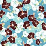 Гаваиская безшовная картина с цветками гибискуса Стоковые Фото