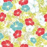 Гаваиская безшовная картина с цветками гибискуса Стоковое Изображение