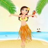 Гаваиская девушка с попугаем бесплатная иллюстрация