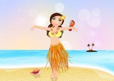 Гаваиская девушка с попугаем иллюстрация штока