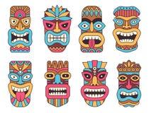 Гаваиская маска бога tiki Деревянная африканская скульптура иллюстрация вектора