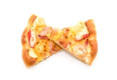 гаваиская пицца морепродуктов изолированная на белой предпосылке Стоковые Фотографии RF