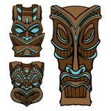 Гаваиская статуя бога tiki высекла деревянную иллюстрацию вектора Стоковое Изображение