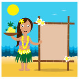 Гаваиские карточки с девушкой hula милой Стоковое Изображение RF