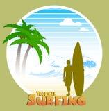 Гаваиский занимаясь серфингом ярлык Стоковые Фотографии RF