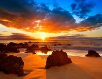 гаваиский заход солнца стоковое изображение rf