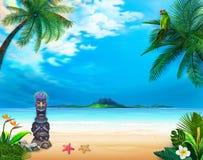 Гаваиский ландшафт с смешным богом и зеленым попугаем иллюстрация штока