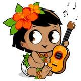 Гаваиский ребёнок играя гавайскую гитару Стоковые Фото