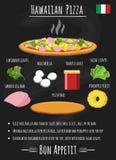 Гаваиский рецепт пиццы на доске иллюстрация штока