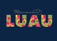 Гаваиский текст Luau тропический, карточка, шаблон приглашения Стоковые Изображения RF
