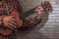 Гавайская гитара в женских руках стоковое фото