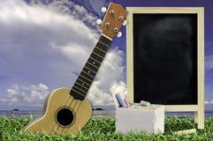 Гавайская гитара с голубым небом и пустым классн классным на зеленой траве Стоковые Изображения RF