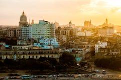 Гавана (Habana) в заходе солнца Стоковое Изображение RF