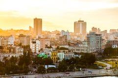 Гавана (Habana) на заходе солнца Стоковая Фотография RF