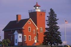 2 гавани освещают станцию вдоль залива агата на Lake Superior, MN стоковые фотографии rf