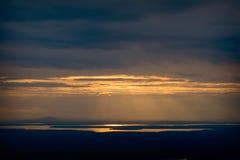 Гавань бара захода солнца обозревая от горы Кадиллака стоковая фотография