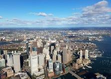 Гавань Бостона - вид с воздуха стоковая фотография