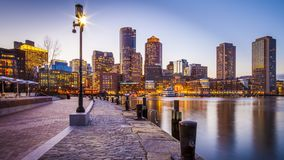 Гавань Бостона и финансовый район Стоковые Изображения