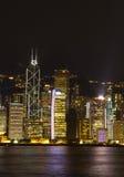 Гавань Гонконга Виктории жемчуг Востока симфонизм горизонта взгляда ночи светов панорамного Стоковое Изображение RF