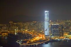 Гавань Гонконга на ноче Стоковая Фотография