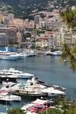 Гавань Монако вдоль Ривьеры, среднеземноморского Стоковое Изображение