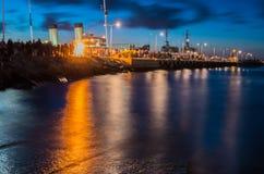 Гавань ночи с светами на Таллине Стоковые Фото