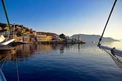 Гавань, остров Греция Symi Стоковые Изображения