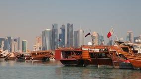 Гавань доу в Дохе, Катаре видеоматериал