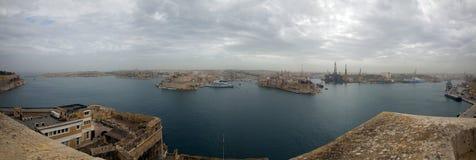 Гавань панорамы Мальты Стоковое Фото