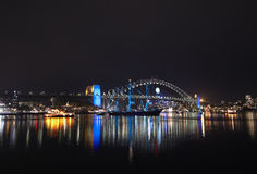 гавань Сидней моста темная Стоковые Фото