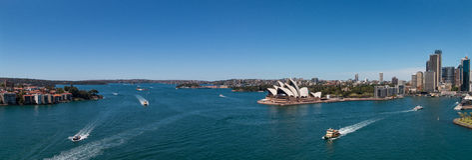 Гавань Сиднея & круговая набережная панорамные Стоковая Фотография
