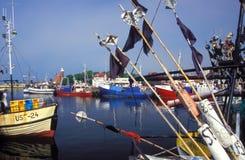 Гавань с fishboats Стоковая Фотография