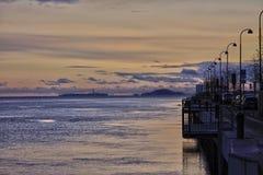 Гавань яхты в Норвегии на заходе солнца Стоковые Фотографии RF